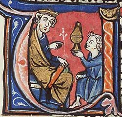 From a Bible of Paris dating to the late 13th century, a depiction by an associate of the Aurifaber Workshop showing Nehemiah as cupbearer for Artaxerxes