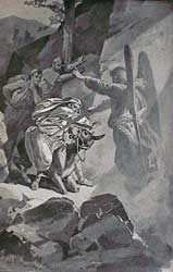 "A depiction of The Angel of the Lord blocking Balaam's path, from ""The Story of the Bible"" by Charles Foster, illustrated by F. B. Schell and others"