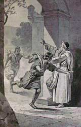 "A depiction of someone fleeing to a city of refuge, from ""The Story of the Bible"" by Charles Foster and illustrated by F. B. Schell and others"