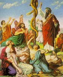 An unidentified artist's depiction of Moses lifting up the snake in the wilderness