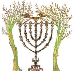 An unidentified artist's depiction of Zechariah's fifth night vision revelation of the gold lampstand and two olive trees
