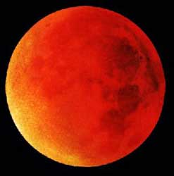 An unidentified photographer's picture or artist's depiction of a red moon